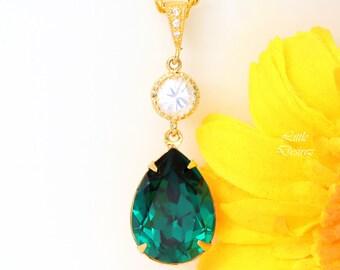 Emerald Gold Necklace Green Gold Necklace Swarovski Crystal Emerald Bridal Teardrop Necklace Bridesmaid Necklace Dark Green Necklace EM31N