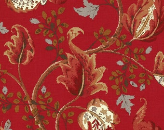 SCHUMACHER CLASSIC JACOBEAN Cotton Linen Fabric 10 Yards Tomato