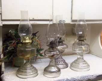 4 Vintage Oil or Kerosene Lamps Clear Glass with Chimneys Wedding Table Set B634