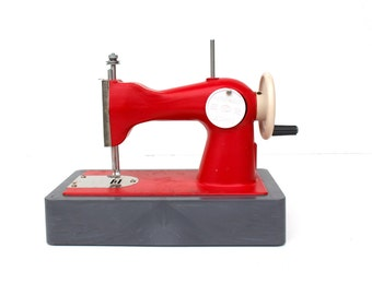 Childs Sewing Machine Soviet Kids Red Sewing Machine Soviet Toy Toys, Kids Room Decor, USSR 70s Collectibles Toys