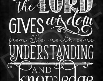 Scripture Art - Proverbs 2:6 ~ Chalkboard Style