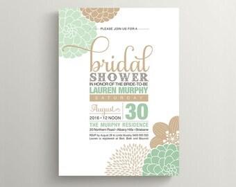 Printable Bridal Shower Invitation - Modern flower design in Mint and Tan (PP82)