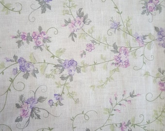 Lavendar and Pink Rose Vines - Linen Look Fabric