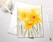 Watercolor notecard set, daffodil painting, art reprints, personal stationery, inspired by nature, gardening notecards, spring flowers