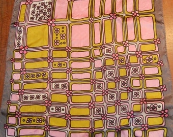 Flower Power! Mod scarf - pink, green, grey, 1960s or '70s - Peter Max-like