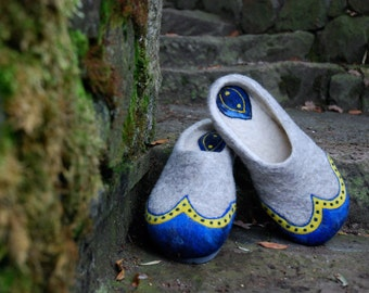 Felted Slippers- Simply Grey simply Elegant MADE TO ORDER