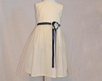 Ivory Lace Girls Dress, Girls Ivory Lace Dress, Birthday Dress, Cream Flower Girl Dress, Shabby Chic Dress, Tea Party Dress, Wedding Girl
