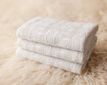White Newborn Wrap, Newborn Photo Prop, Textured Woven Wrap, White Cotton Wrap,  RTS