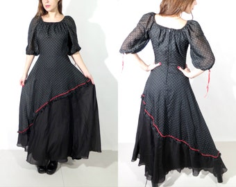 Vintage Kleemeier Hof Black Dotted Maxi Long Dress Size 40
