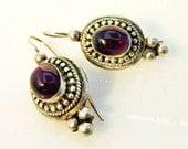Purple Glass Drop  Earring Sterling silver Amethyst color