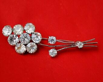 Rhinestone Flower Brooch  - Signed Austria - Clear Crystal - silver metal- Floral Pin