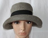 Handmade Ladies Grey Wool Felt Dress/Church Hat