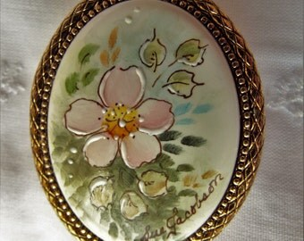 Vintage Hand Painted Porcelain Brooch by Sue Jacobson