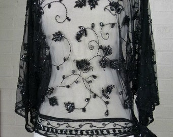 Sheer Black Beaded Boho  Evening Top - Butterfly Sleeves with Open Shoulders -  Art Deco