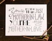 Mother In Law Card, Mother's Day Card, Awesome Mother-In-Law Card, Greeting Card, Mom In Law Card, Blank Card