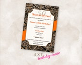 5X7 Birthday party invite Invitation Instant Download Just add your info and print! camo orange