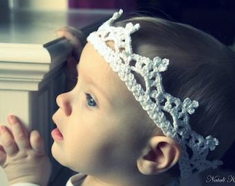 Baby girl white Crown.  Free shipping.
