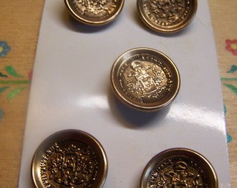 "Set of 5 Vintage 5/8"" Brass Tone Coat of Arms Blazer Uniform Metal Buttons (1694)"