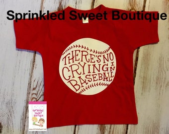 There's No Crying in Baseball Red Shirt Custom Baseball Shirt for Girls, Boys, Women and Men