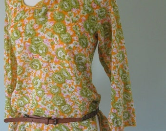 50% off sale Vintage Coverup/Tunic Floral Print