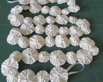 New 6 foot fabric yo yo White on White garland made of  2 inch and 1 1/2 inch yo yos.