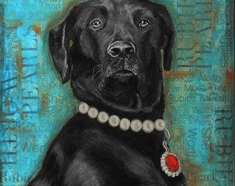 "Ruby Dog, Black Lab, Pet Portrait, 11"" x 14"" Signed Art Print, Proverbs, Fine Art Giclees from Original Paintings"