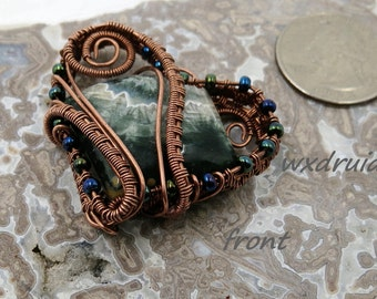 Wire Wrapped Pendant, Copper Wire Wrapped Pendant, Ocean Jasper Cabochon Pendant, Wire Wrapped Cabochon Pendant, Wire Wrapped Jewelry