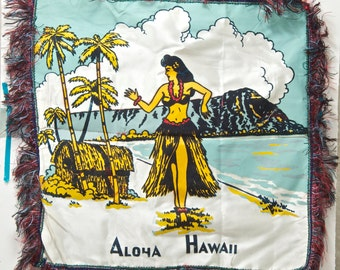 Aloha from Hawaii pillow case. 1960s, fringed and flocked, 16x16 inch