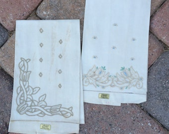 Embroidered Linen Tea Towels, Madeira Hand Towels