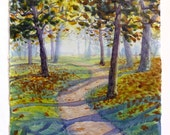 Landscape Painting, Watercolor Landscape, Fall Trees, Walking Path, Path with Trees, English Countryside, Hidcote Gardens
