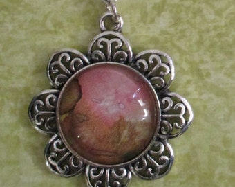 Art Pendan Necklace  - Pink & Green Alcohol Ink Pendant