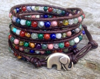multi colored leather wrap bracelet lucky elephant chakra multi wrap amethyst lapis lazuli gemstone mix
