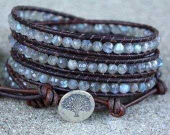 labradorite and sterling silver tree beaded leather wrap bracelet faceted semi precious genuine stones
