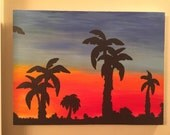 PARADISE palm tree silhouette sunset original one of a kind acrylic painting art