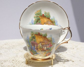 Vintage cup and saucer 'Somerset Cottage' by Regency bone china