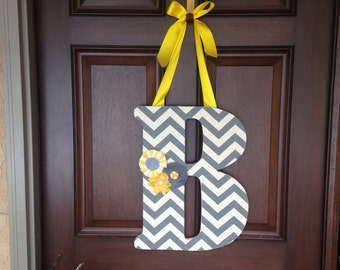 Hanging inital- Letter B- Front door decor-Wooden inital-Grey-Yellow-White- Chevron-Flowers