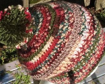 Busy colors in burgundy green cream crochet beanie hat Pom Pom slouch