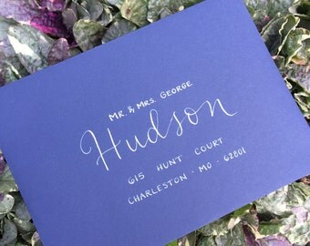 Envelope Addressing, Modern Calligraphy, Calligraphy for Wedding Invitations, Dip Pen Calligraphy, White Ink Calligraphy, Hand Lettered Enve