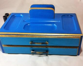 Blue Teal Valet Desk Accessory, 2 Drawers Phone Holder Pen Holder Desktop Organizer, Blue Mens Jewelry Valet, Jewelry Organizer Storage
