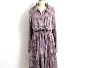 1970s dress / 70's abstract print dress / pink dress / vintage ROMAN NEW YORK