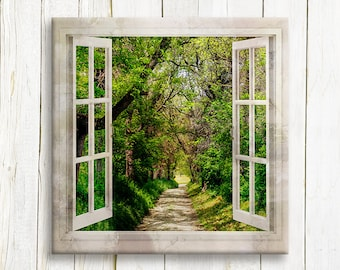 Window view green forest art printed on canvas - housewarming gift