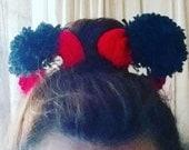 "2 Large 3.5"" MINNIE EARS yarn & crochet pompoms with custom minnie lasercut acrylic button"