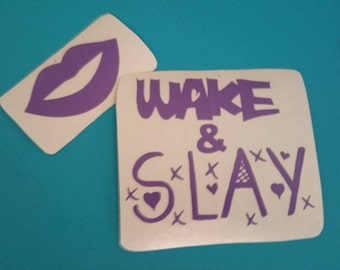 CUSTOM VINYL Decal Design Choose your Colors Wake & Slay with lips