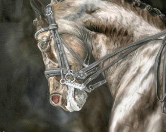 "Nicolae Horse Art Nicole Smith Equine Artist High Quality Giclee Print Reproduction 10x10 ""Precision"" Dressage"