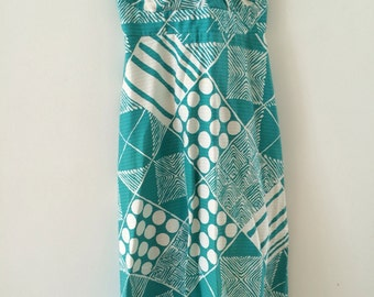 AWESOME Vintage WALTAH CLARKES Hawaiian Maxi Dress Long Turquoise White Print Womens Small