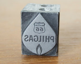 Small Philgas, Phillips 66, solid metal printing block, letter press plate