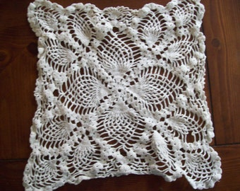 Vintage Handmade Crochet Square Doily or Pillow Front/ Home Decor/ Family Heirloom/
