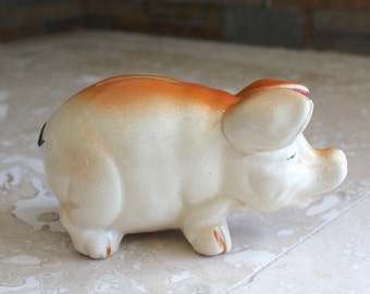 1920s ceramic piggy bank - very old piggy bank - pig bank made in Japan - realistic pig coin bank - hand painted piggy bank - coin bank