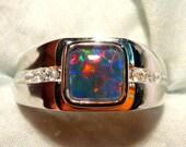 Mens Opal Ring Sterling Silver, Natural Opal Triplet. 8mm Square . item 100410.