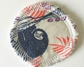Sloth - Menstrual Cup Coaster - Cup Rug - Cup Spot - Cup Coaster - Cotton and Steel Sarah Watts HoneyMoon